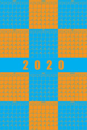 2020 Annual Planner Calendar big impact editable space blue orange game  background