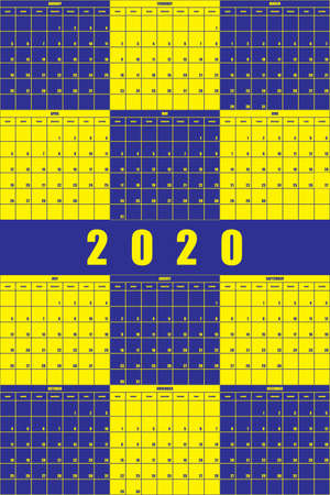 2020 Annual Planner Calendar big impact editable space blue yellow game  background
