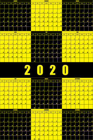 2020 Annual Planner Calendar big impact editable space black yellow game background
