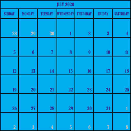 CALENDAR PLANNER MONTH JULY 2020 ON BLUE BACKGROUND