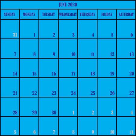 CALENDAR PLANNER JUNE 2020 ON BLUE BACKGROUND