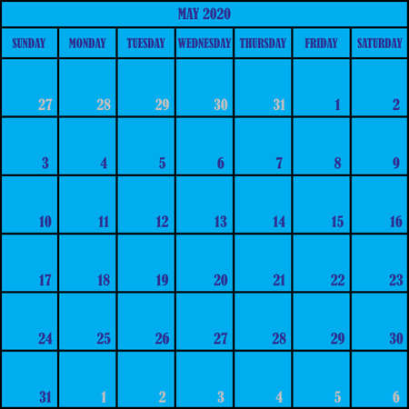 CALENDAR PLANNER MONTH MAY 2020 ON BLUE BACKGROUND