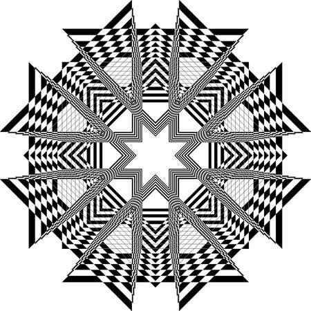 abstract arabesque honeycomb church ceiling black on transparent background designer cut Stock Illustratie