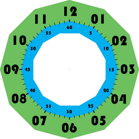 clock dial black numbers for minutes and seconds and green cyan cadran on transparent background Stock Illustratie