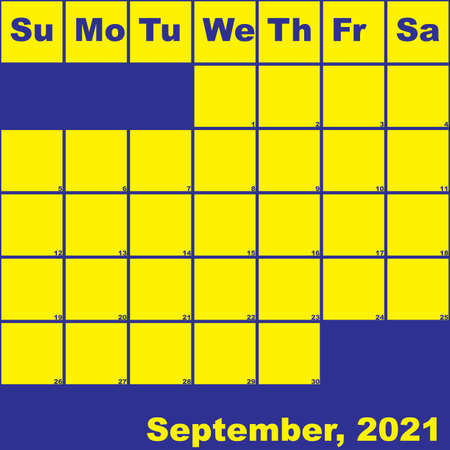 2021 September yellow on blue planner calendar with huge space for notes