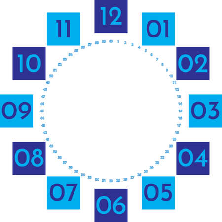 clock dial enormous numbers in square hourly blue on blue blue 2020 seconds on transparent background