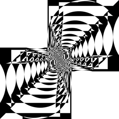 Abstract Arabesque random approach circle and square balance game Perspective Design black on transparent seamless plaid background