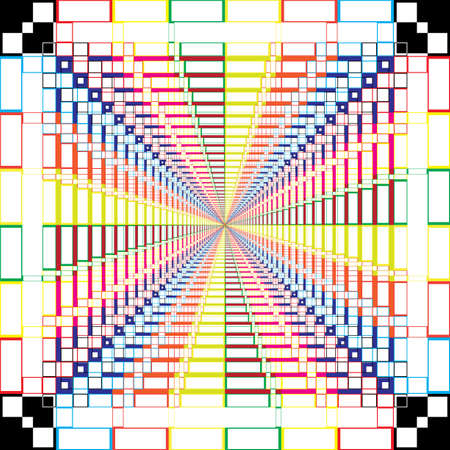 Abstract Arabesque rgb swatches stairs perspective Design on transparent square plaid background Ilustração