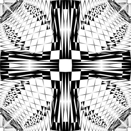 Abstract Arabesque fence developement project cross Design black on transparent seamless plaid background Illustration