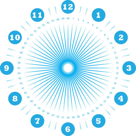 clock dial enormous numbers in circle hourly negative space on blue seconds on transparent background Illustration