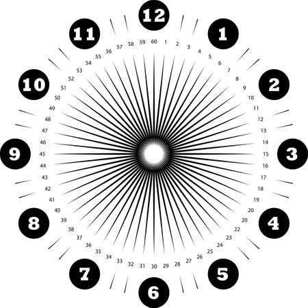 clock dial enormous numbers in circle hourly negative space on black seconds on transparent background