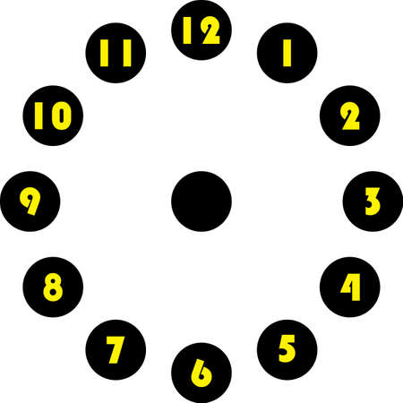 clock dial enormous yellow numbers in circle hourly on black circle on transparent background Illustration