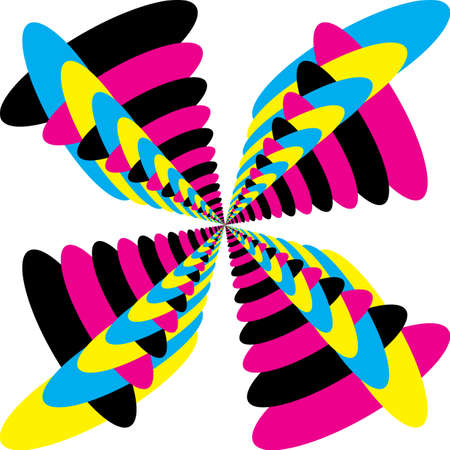 Abstract Butterfly Multiple Colors Cyan Magenta Yellow Black Combined designer graphic cut Illustration