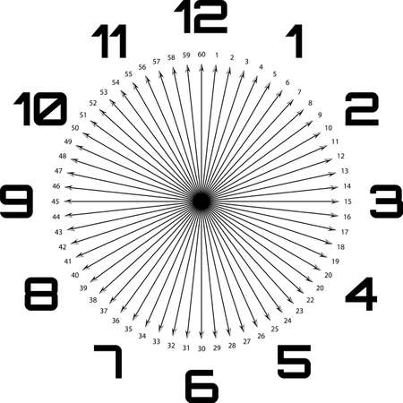 clock dial enormous deco numbers black arrows as seconds on transparent background Illustration