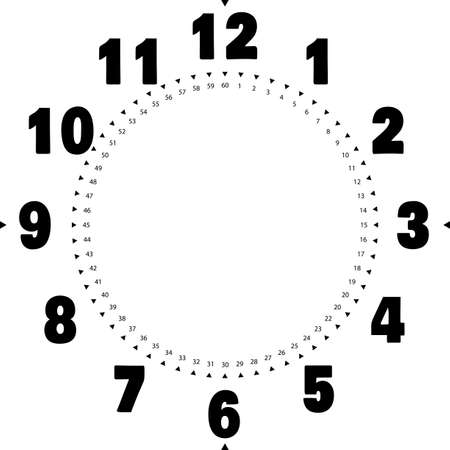 clock dial enormous for the hours and small for seconds on transparent background