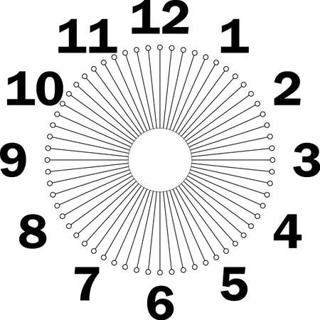 clock dial enormous for the hours and small circles corona like for seconds on transparent background