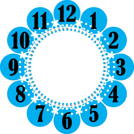 clock dial enormous numbers for the hours and small for seconds blue circles on transparent background Illustration