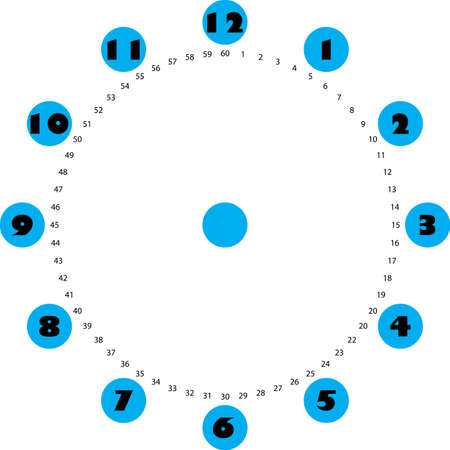 clock dial big black numbers on blue circles for the hours and small for seconds on transparent background