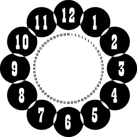 clock dial enormous negative space numbers hourly on black circle game with small circle of seconds on transparent background