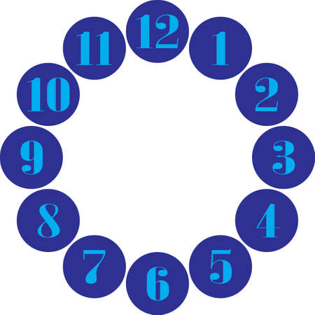 clock dial gigantesque  cyan numbers for the hours on blue circles on transparent background