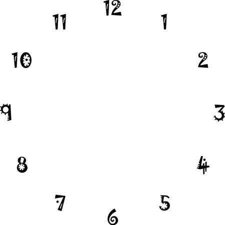 clock dial interesting numbers for the hours on transparent background designer cut Illustration