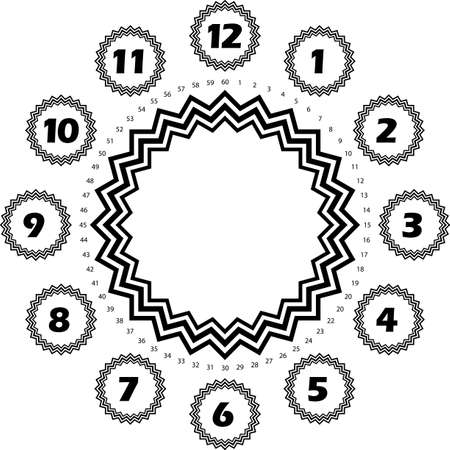 clock dial black numbers hourly on black black stelar forms and black seconds on transparent background with stelar dial core Illustration