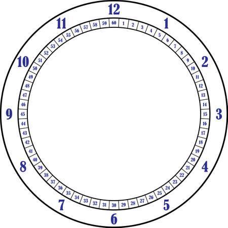 clock dial black flying wheel frame blue numbers on transparent background designer cut