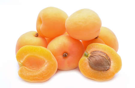 apricot kernels: Apricot on a white background