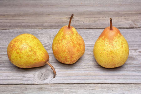 yellow: ripe pears on wooden background Stock Photo