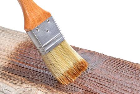 木材にペイント ブラシ 写真素材
