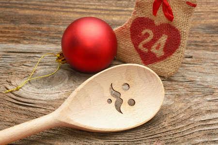 merry chrismas: Wooden Spoon and Chrismas decorations, Merry Chrismas cooking
