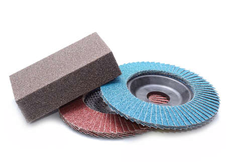 abrasive: Abrasive wheels isolated on white background