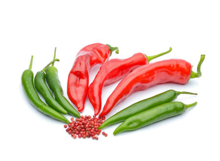 Red peppers and chili peppers Stock Photo