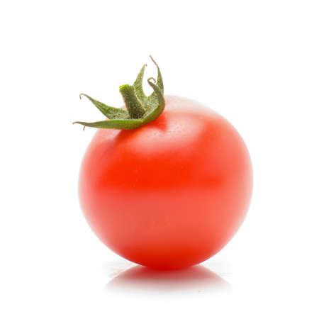 tomatoe with green stem on white background