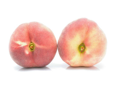 jhy: chinese flat peaches on white background