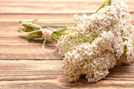 milfoil: fresh yarrow flowers on a wooden background