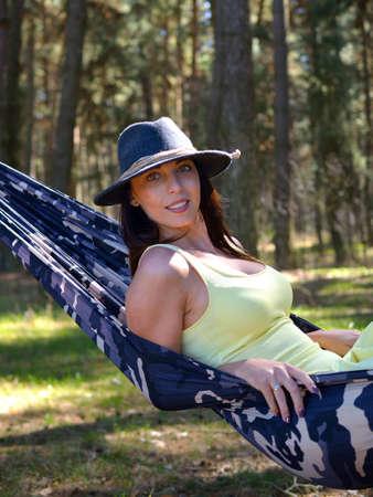 slumber: Relaxing in the hammock. Summer day