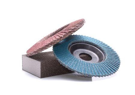 Abrasive wheels isolated on white background Stock Photo