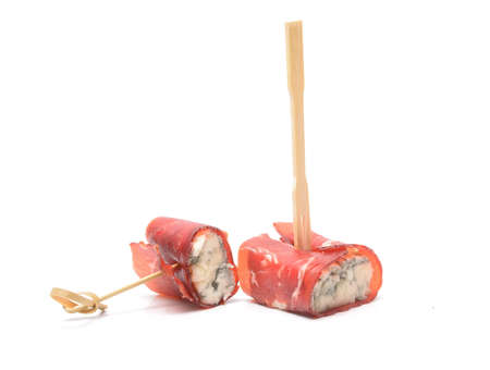 Cream cheese roll ups appetizer with prosciutto