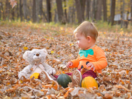 Happy little child, baby girl laughing and playing in autumn Stock Photo