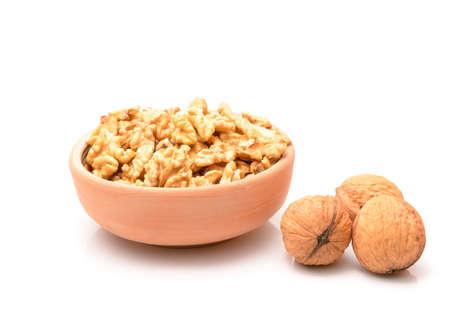 Raw walnuts on white background Standard-Bild - 112913318