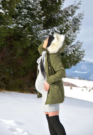 Young happy pregnant woman in snowy nature Standard-Bild - 118557564