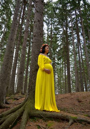 Beautiful pregnant woman in yellow dress Standard-Bild - 118557886