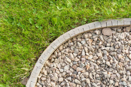 Gravel garden path  construction detail Stock Photo