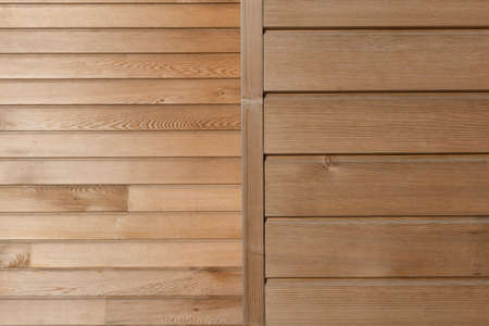 nailing: Timber board cladding background with horizontal  vertical elements Stock Photo