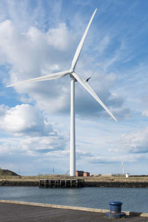 Editorial: Wind turbine in Cambois Northumberland. Taken 27 April 2015 Editorial