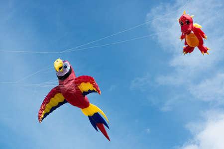 Blyth Northumberland UK: 04 MAY 2015. Kites in flight at Blyth Kite Festival 2015