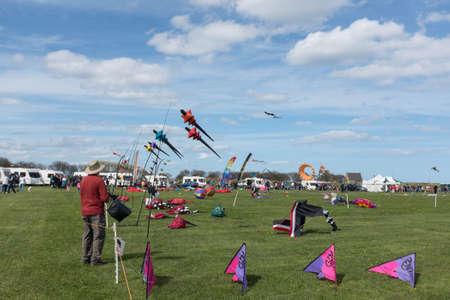Blyth Northumberland UK: 04 MAY 2015. Exhibtors visitors  Kites at Blyth Kite Festival 2015