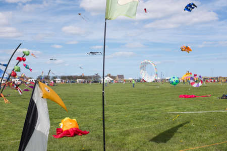 blimp: Blyth Northumberland UK: 04 MAY 2015. Kites in flight at Blyth Kite Festival 2015