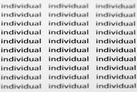 The word individual repeated with shallow focus amongst identical text